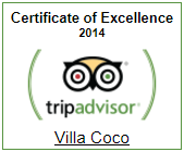 Villa Coco Certificate of Excellence 2014