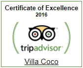 Villa Coco Certificate of Excellence 2016